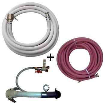 Bundle: 10 m Mörtelschlauch weiß NW25 + 1 Spritzgerät kurz NW25 + 10 m Luftschlauch 1/2